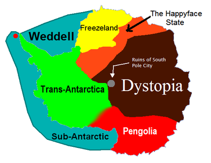 A map of Dystopia and the surrounding states.