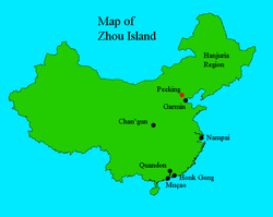 Location of Zhou