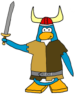 Jock Hochstadt, a Viking Penguin who wields a common Viking weapon- the sword.
