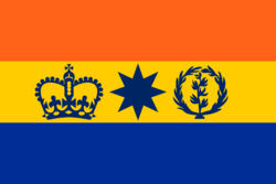 The former flag, used by the Kingdom of Tropicalis and briefly as a temporary placeholder flag for the Republic.