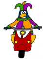 Clovis on Motor Scooter.png